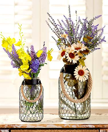 Chicken Wire Glass Vases