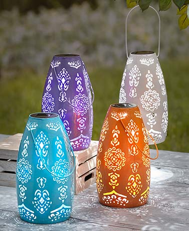 Colorful Punched Solar Lanterns
