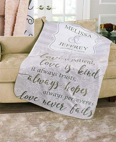Personalized Wedding Sherpa-Backed Throws