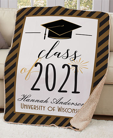 Personalized Sherpa-Backed Graduation Throw
