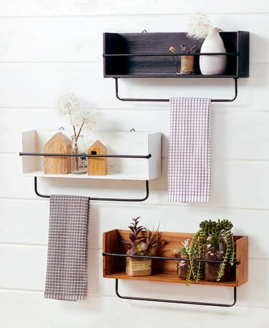 Farmhouse Wall Shelf with Bar