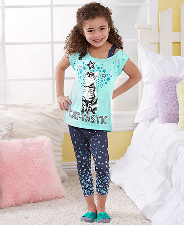 Girls' Glittery Cat or Dog Capri Legging Sets