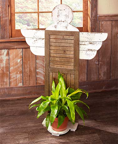Rustic Wood Shutter Angel Plant Stand
