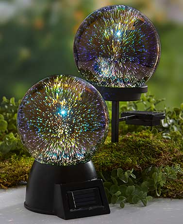 3-D Effect Solar Glass Gazing Balls