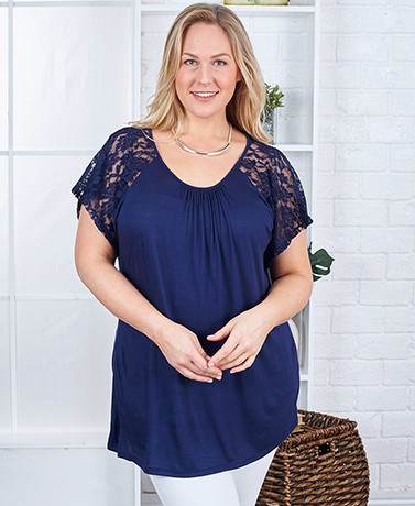 Women's Lace Sleeve Knit Tops - Navy