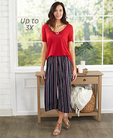 Printed Knit Wide-Leg Capri Pants