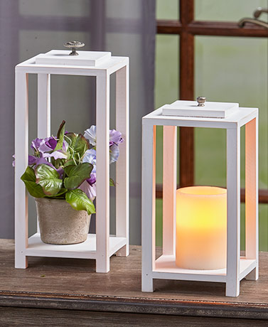 Sets of 2 Vintage-Inspired Wood Lanterns