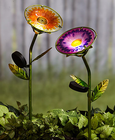 Solar Stained Glass Garden Flowers