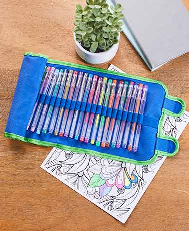 30-Pc. Gel Pens in Roll-Up Case