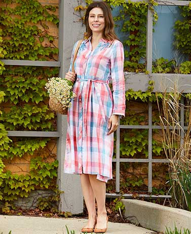 Embroidered Plaid Shirtdress