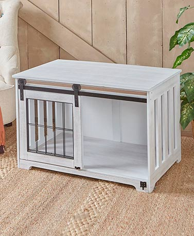 Rustic White Barn Door Pet Crates