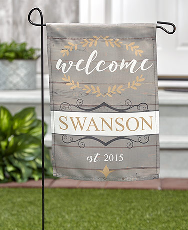 Rustic Welcome Personalized Double-Sided Garden Flags