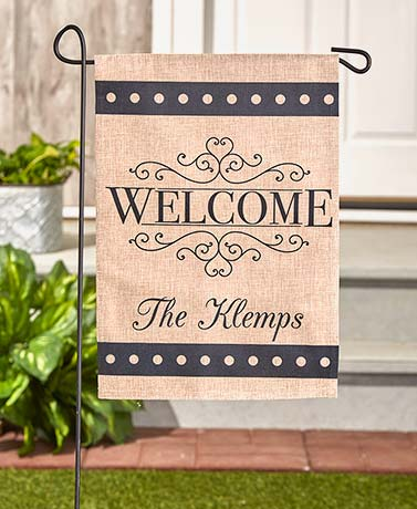 Burlap Welcome Personalized Double-Sided Garden Flags