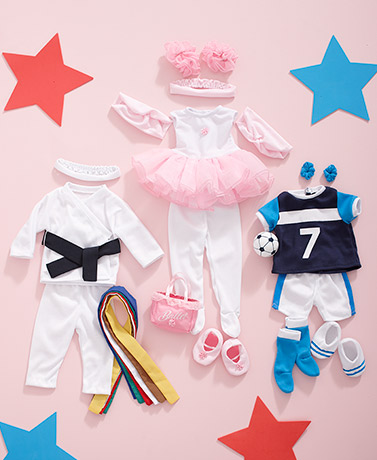 "Set of 3 Sports Outfits for 18"" Dolls"
