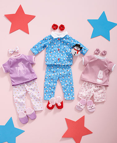 "Set of 3 Pajama Outfits for 18"" Dolls"