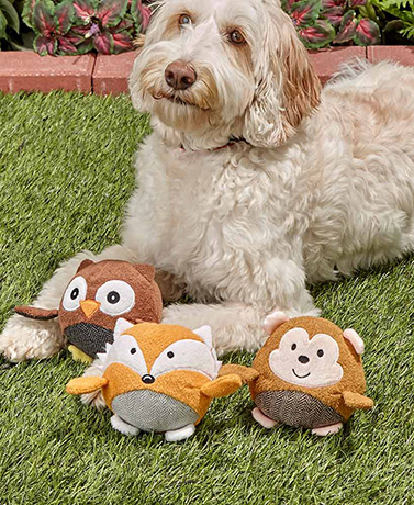 Sets of 3 Plush Ball Pet Squeakers