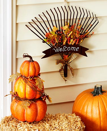 Stacked Pumpkin Stake or Rake Door Hanger