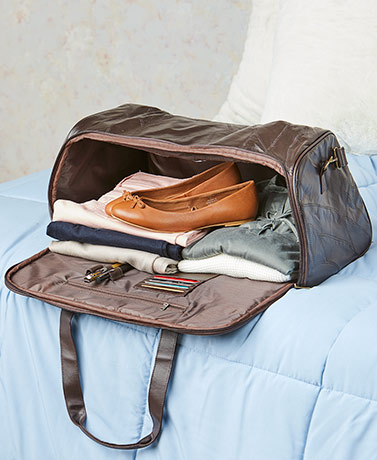 Patch Leather Side Opening Travel Bag