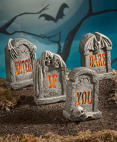 Enter If You Dare Lighted Tombstone Set