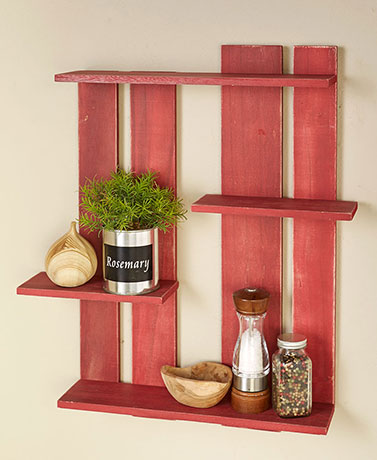 Wood Pallet Multi-Tier Wall Shelves