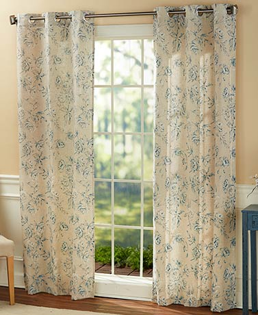 Fiona Floral Window Curtain Pair