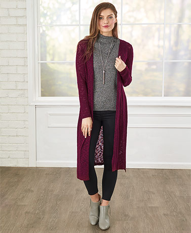 Textured Knit Long Length Cardigans