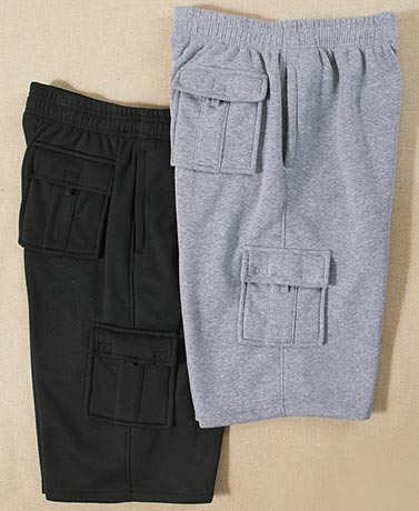 Men's 2-Pk. Fleece Cargo Shorts