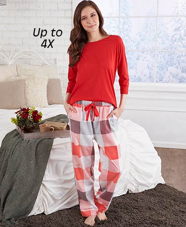 Extended Size Knit and Flannel Pajamas