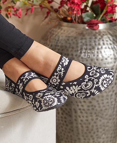 Black Floral Futsoles by Nufoot®