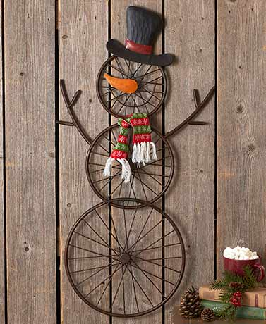 "36"" Hanging Bicycle Wheel Snowman"