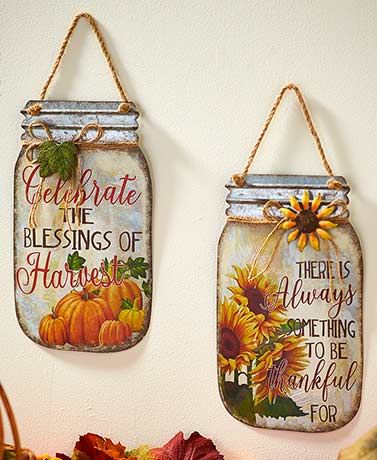 Metal Mason Jar Harvest Sentiment Signs