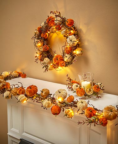 Lighted Velvet Pumpkin Collection