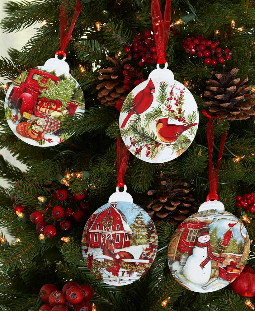 Country Christmas Ornaments.Country Christmas Galvanized Ornaments