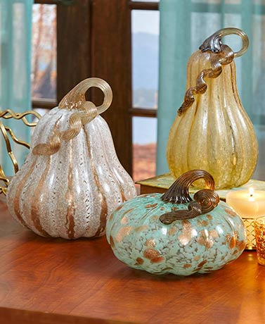 Glass Art Pumpkin Decor