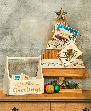 Christmas Greetings Rustic Card Holders