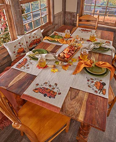Harvest Gathering Embroidered Home Accents