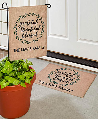 Personalized Harvest Flag or Doormat Grateful Thankful Blessed