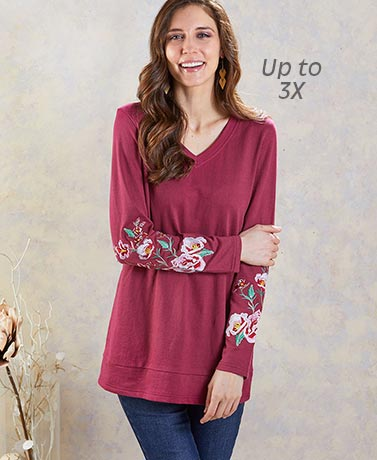 Extended Size Embroidered Tunics