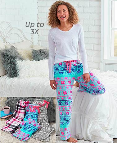 Printed Cozy Plush Lounge Pants