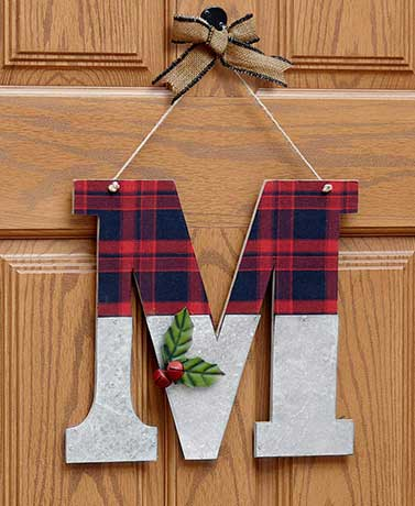 Galvanized Holiday Monogram Door Hangers