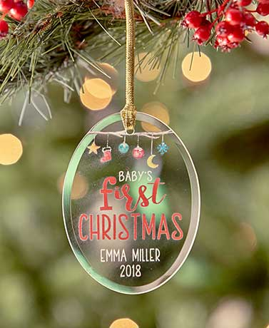 Baby's First Christmas Personalized Glass Ornaments