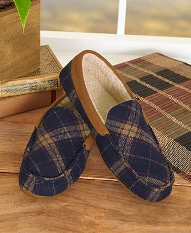 Men's Plaid Memory Foam Moccasins