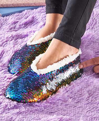 Reversible Sequin Plush-Lined Slippers