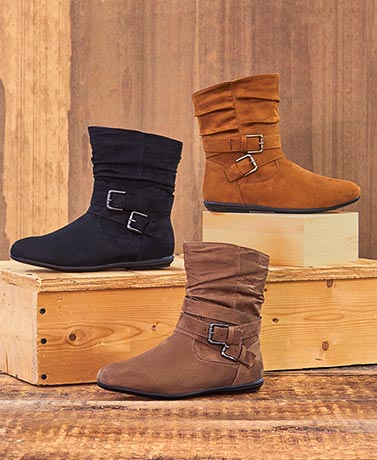 Women's Comfort Booties with Buckles