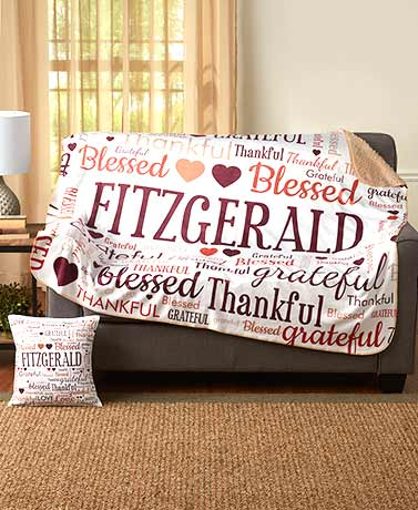 Personalized Family Word Art Sherpa Throws or Pillows