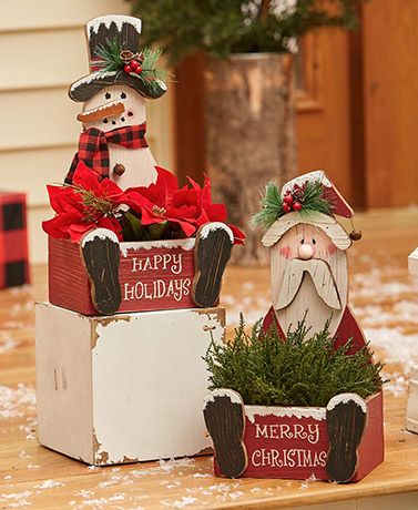 Holiday Country Wood Planter Boxes