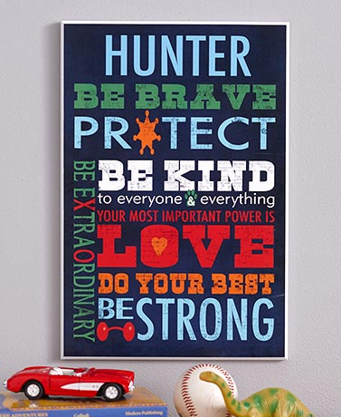 Personalized Kids' Inspirational Wall Art for Boys