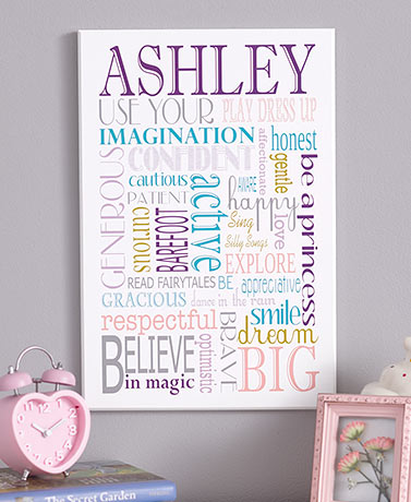 Personalized Kids' Inspirational Wall Art for Girls