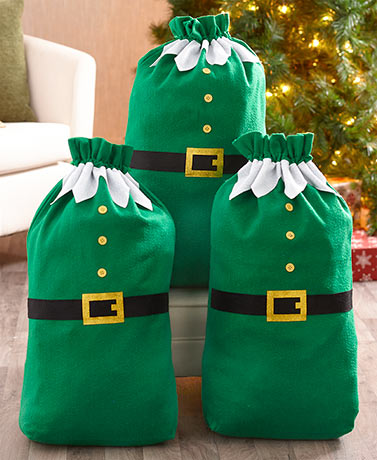 Set of 3 Giant Elf Gift Sacks