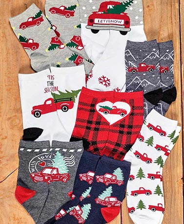 8-Pair Red Truck Crew Socks